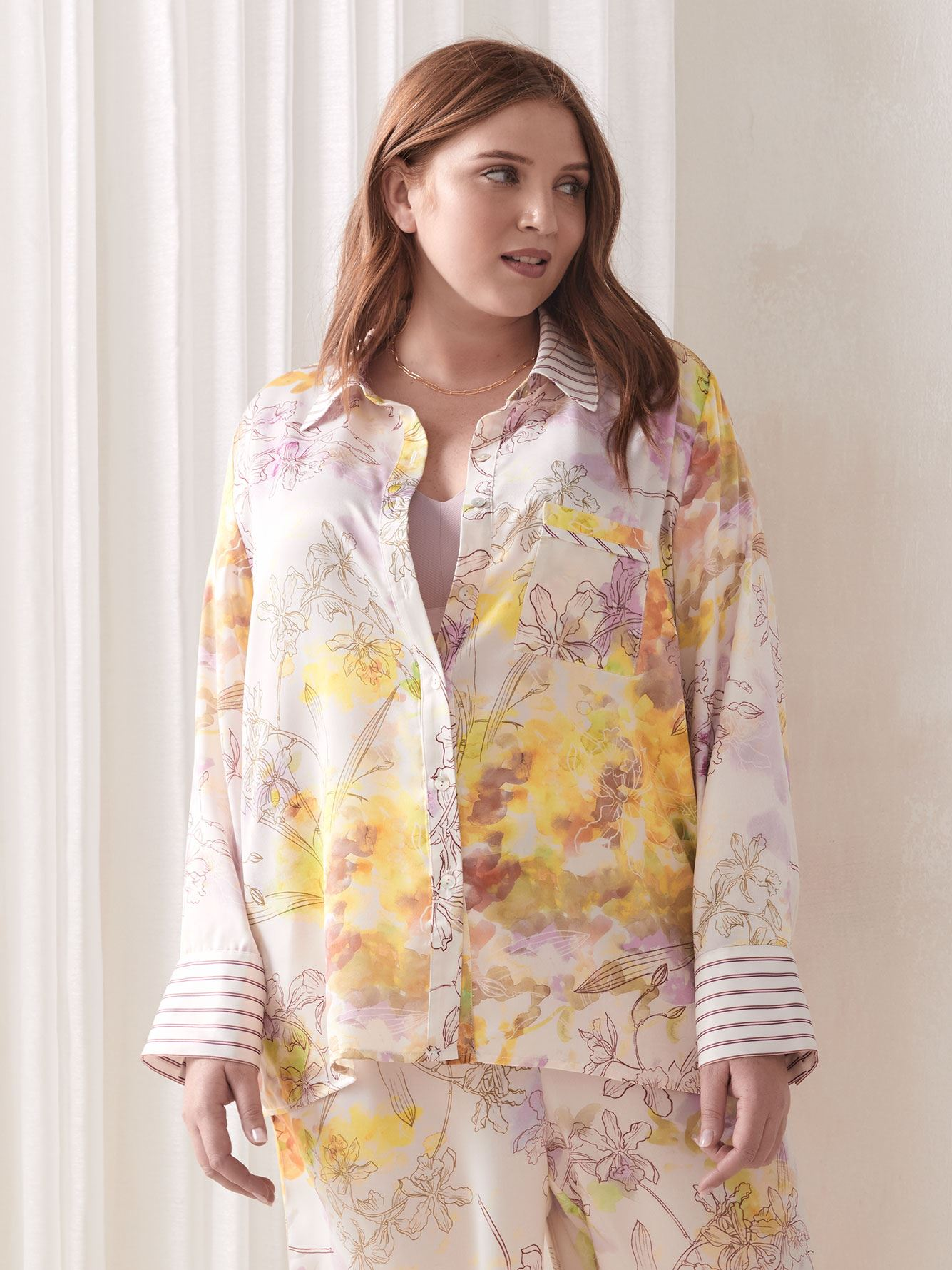 Tailored PJ Shirt with Piping Detail - Addition Elle