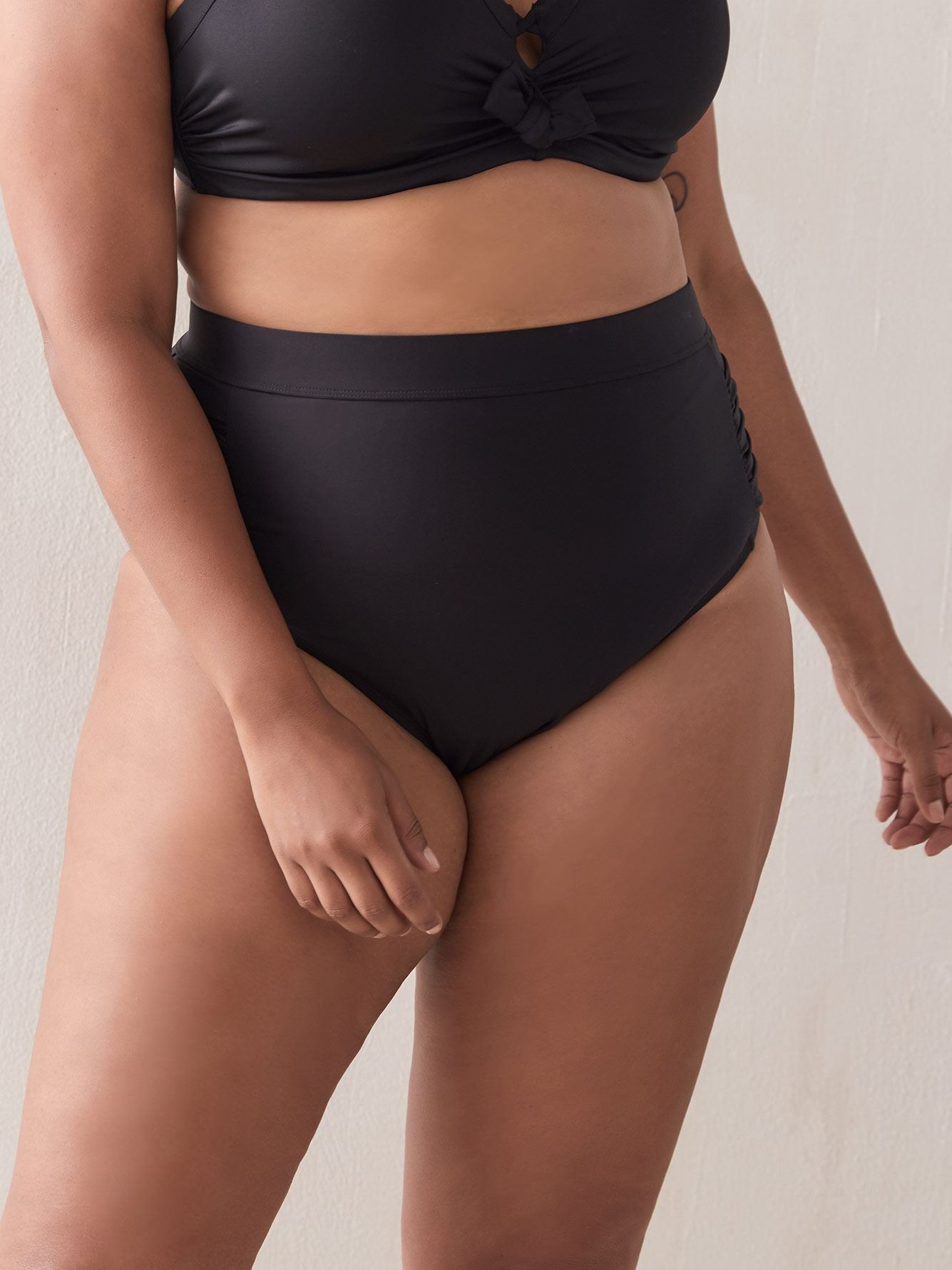 High Waist Ruched Swim Brief - Addition Elle
