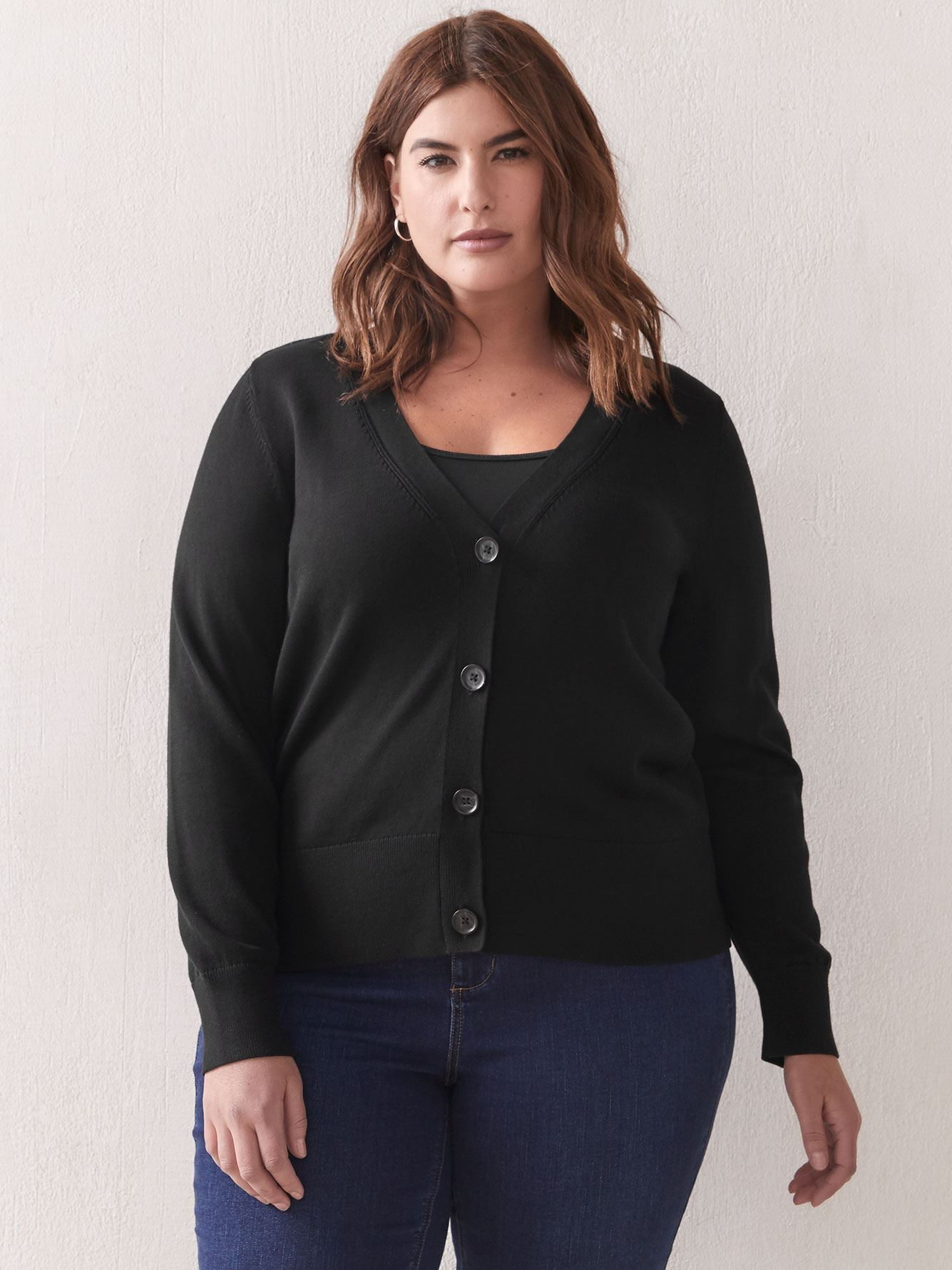 Button-Front Cotton Cardigan - Addition Elle