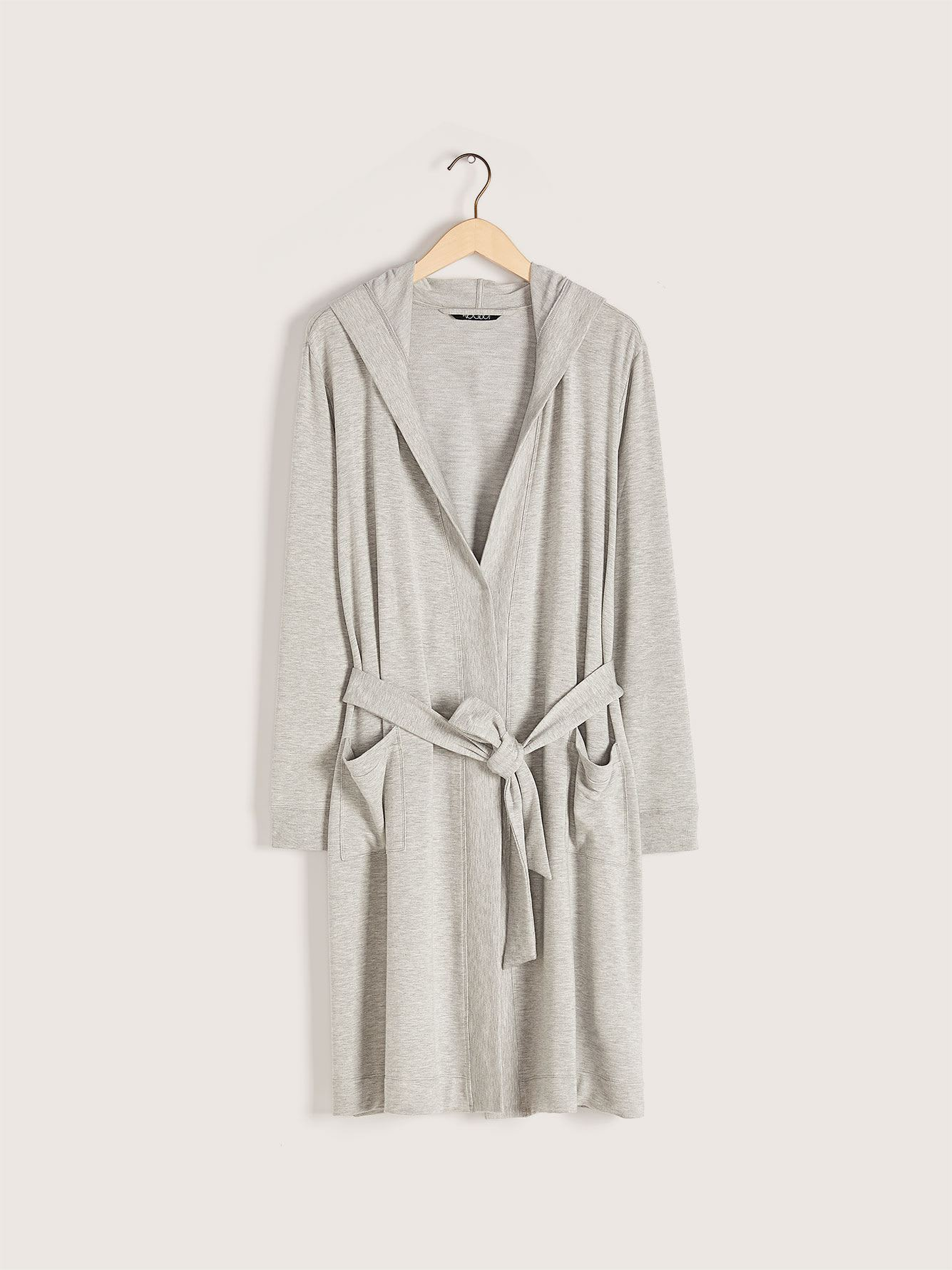Solid Long Lounge Robe with Hood - Addition Elle