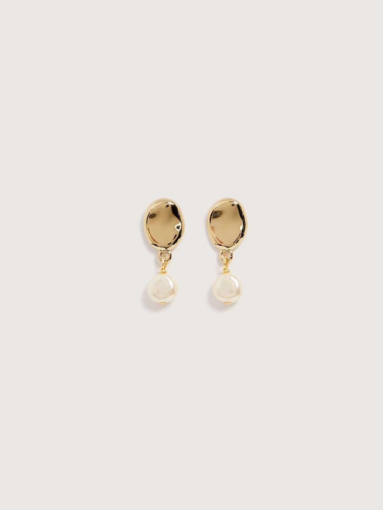 14K Plated Capri Pearl Stud Earrings - Biko