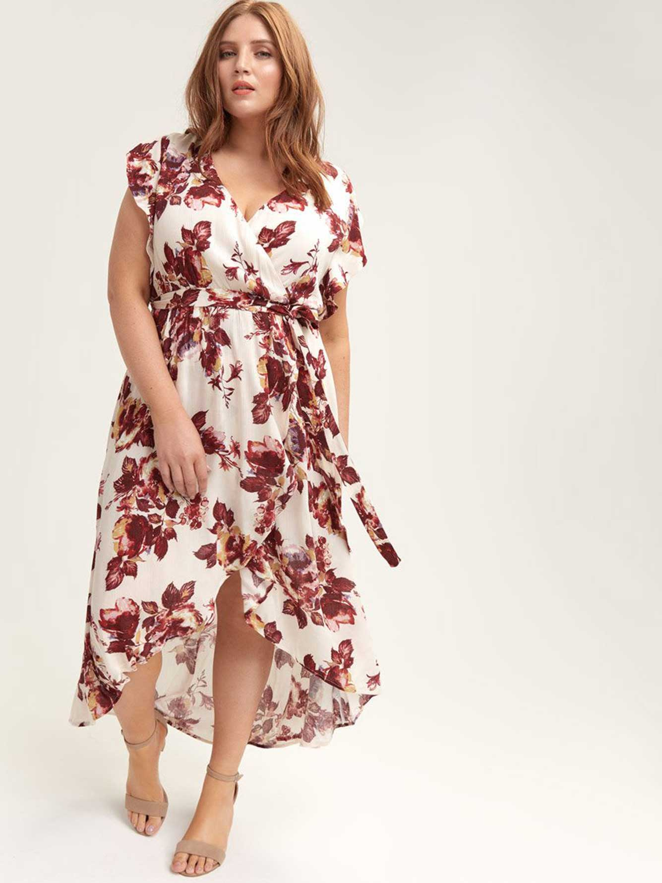 Floral Wrap-Front Dress - City Chic