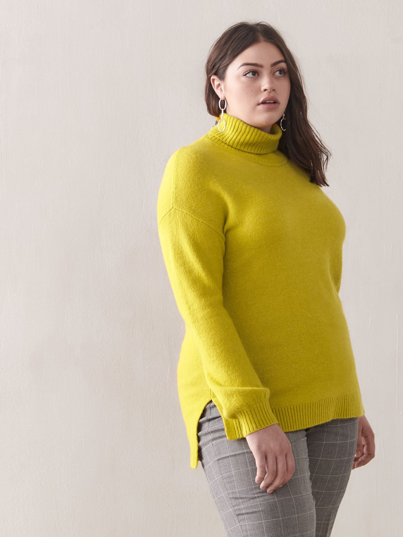 Hi-Low Mock-Neck Sweater - Addition Elle