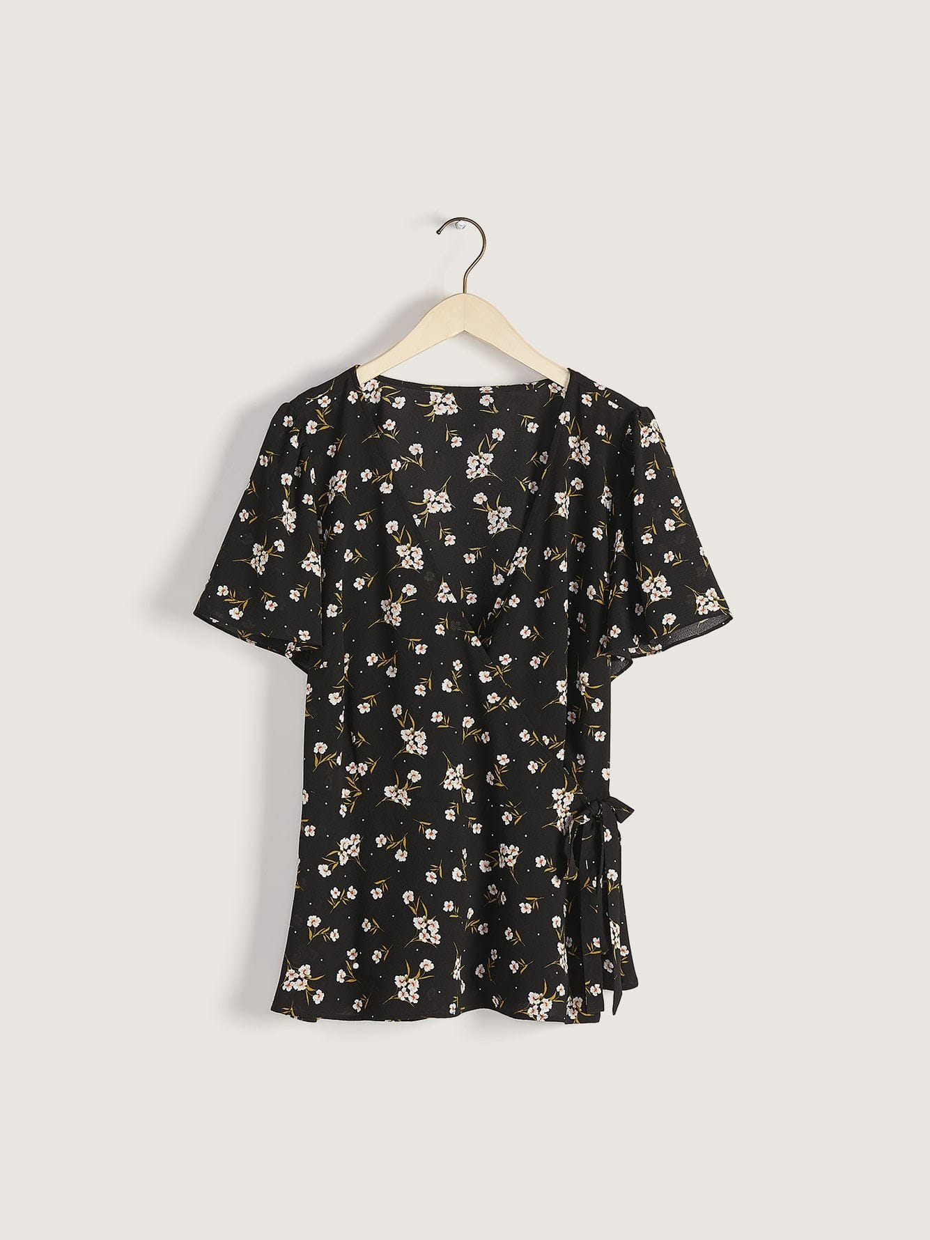 Floral Print Wrap Blouse - Addition Elle
