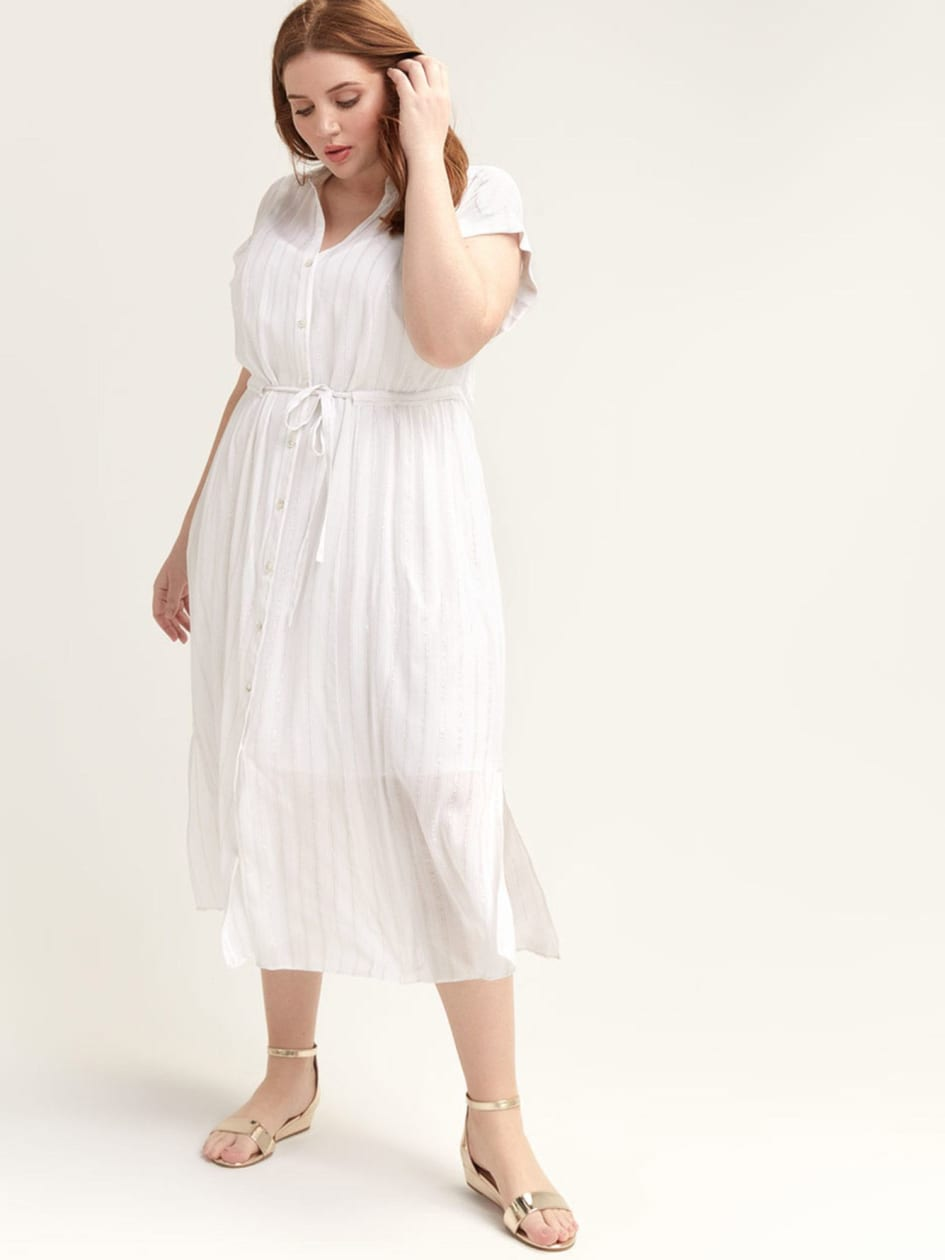 Short-Sleeve Midi Shirt Dress