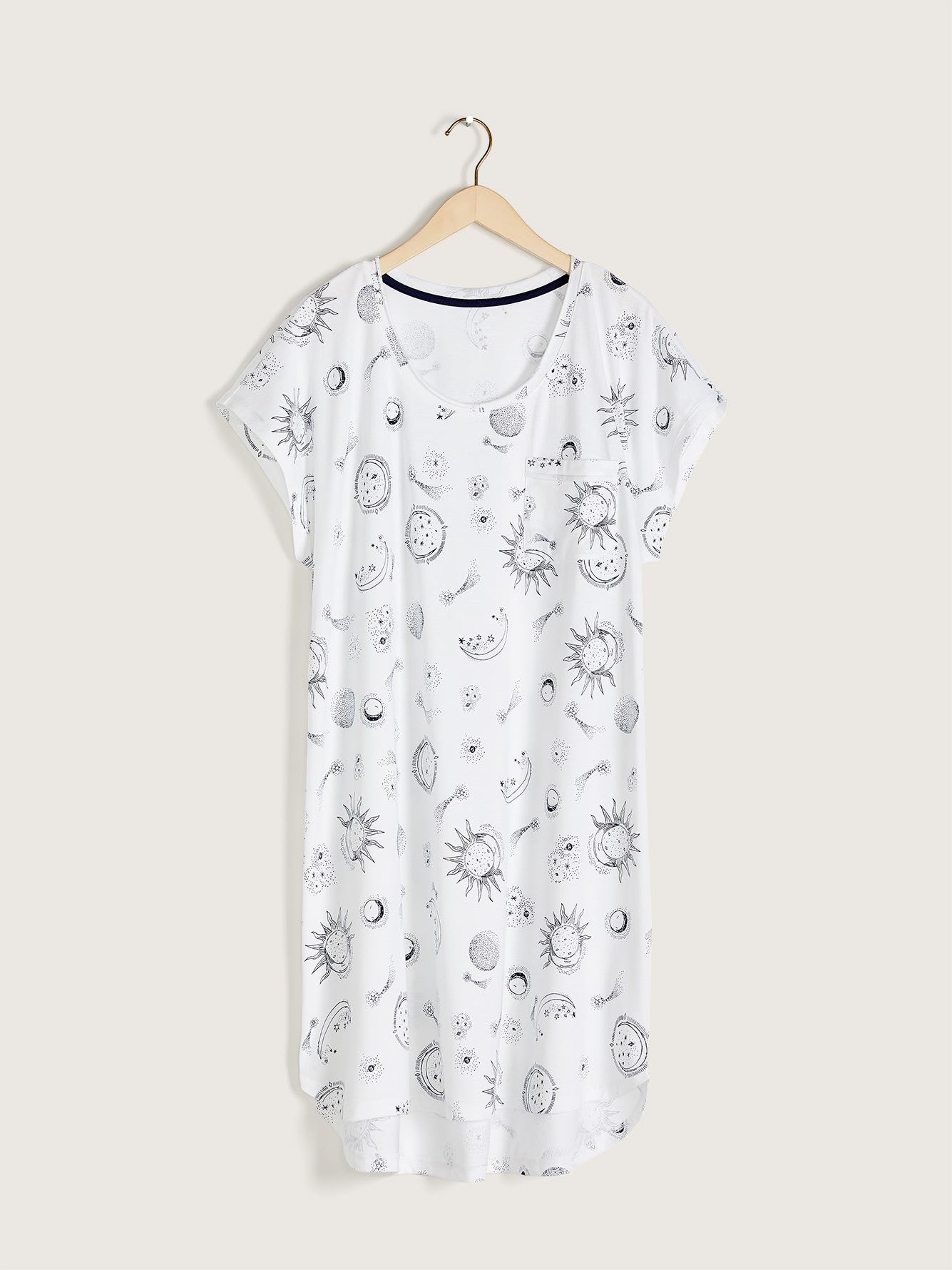 Printed Sleepshirt with Pocket - Addition Elle