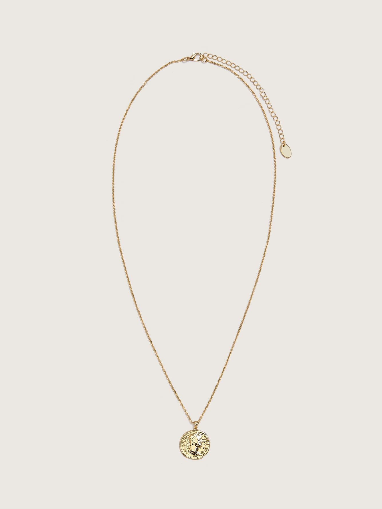Long Layering Necklace with Coin Pendant - Addition Elle