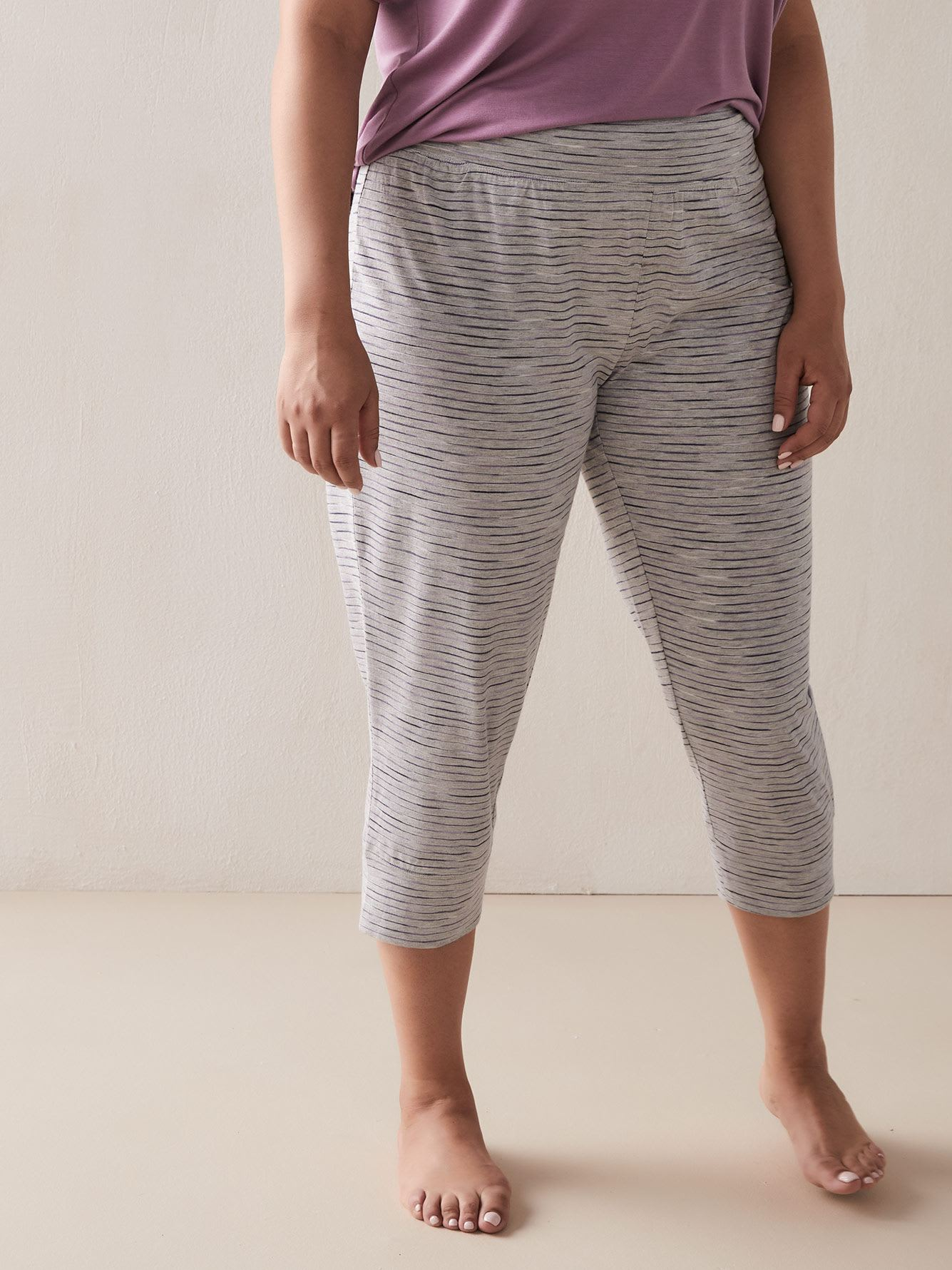 Striped & Heathered PJ Capri Pants - Addition Elle