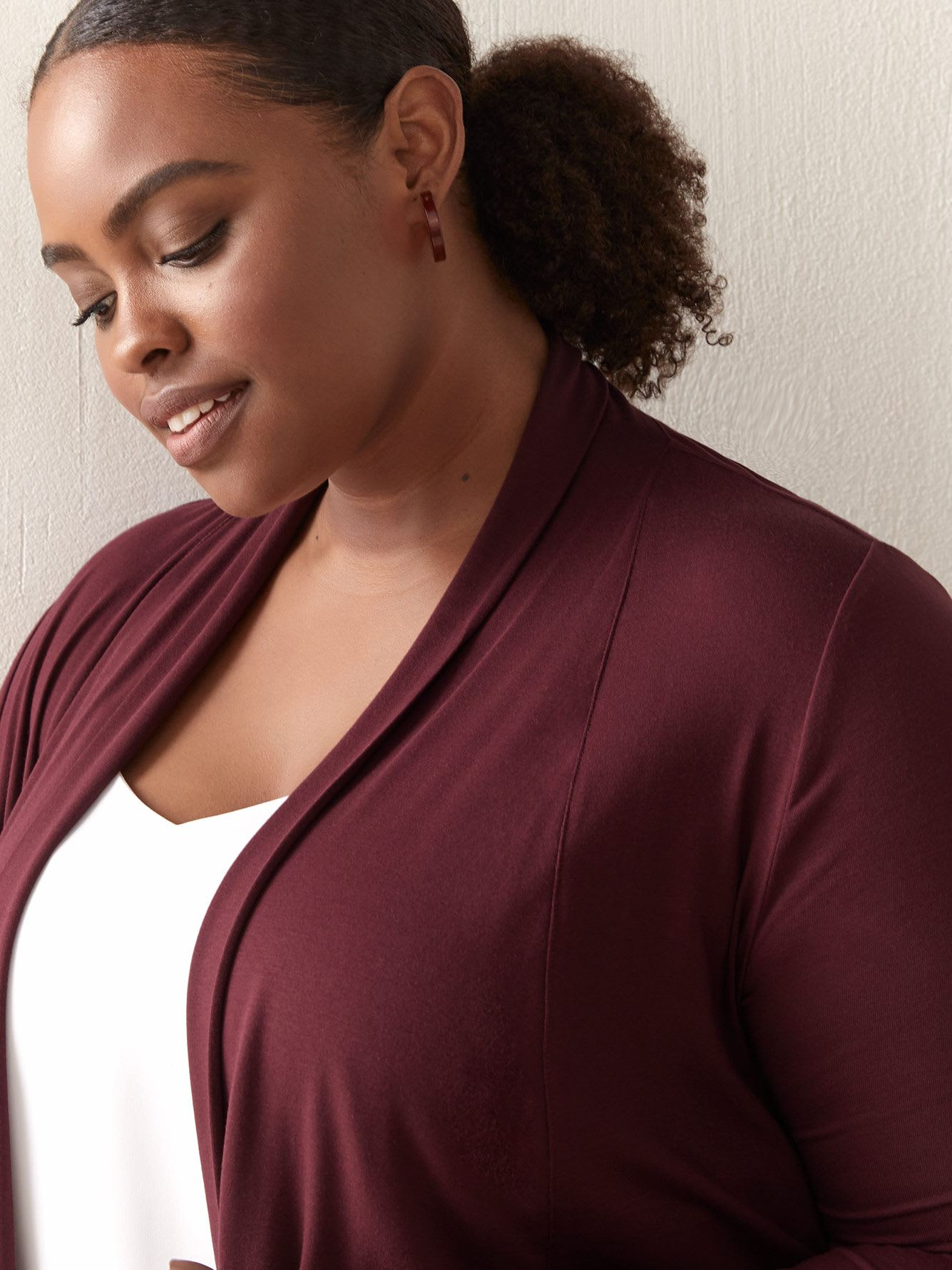 Open Cardigan with Cascade Collar - In Every Story