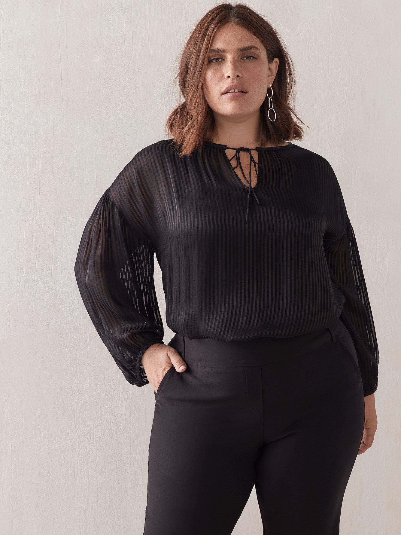 Black Balloon Sleeve Blouse - Addition Elle