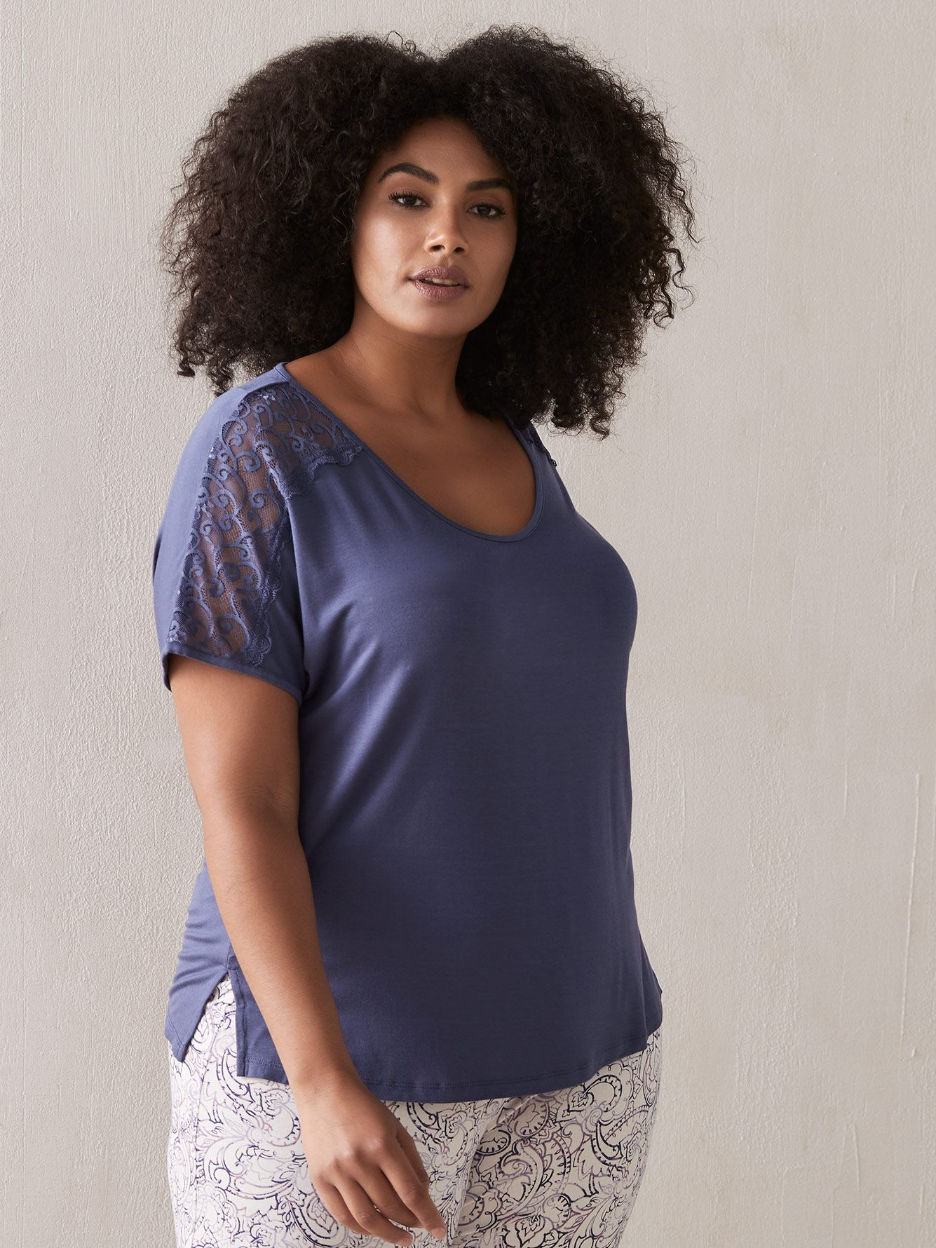 Solid PJ Top with Lace V-Neckline