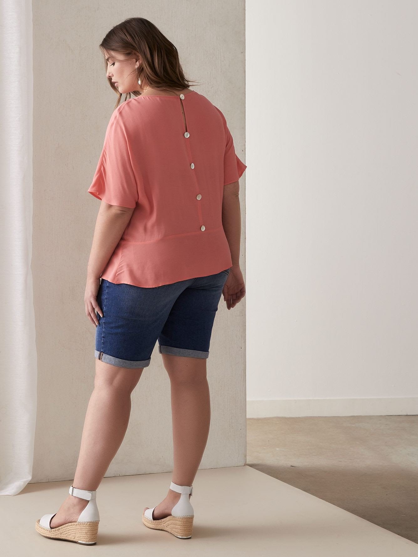 Extended-Sleeve Blouse with Button-Up Back