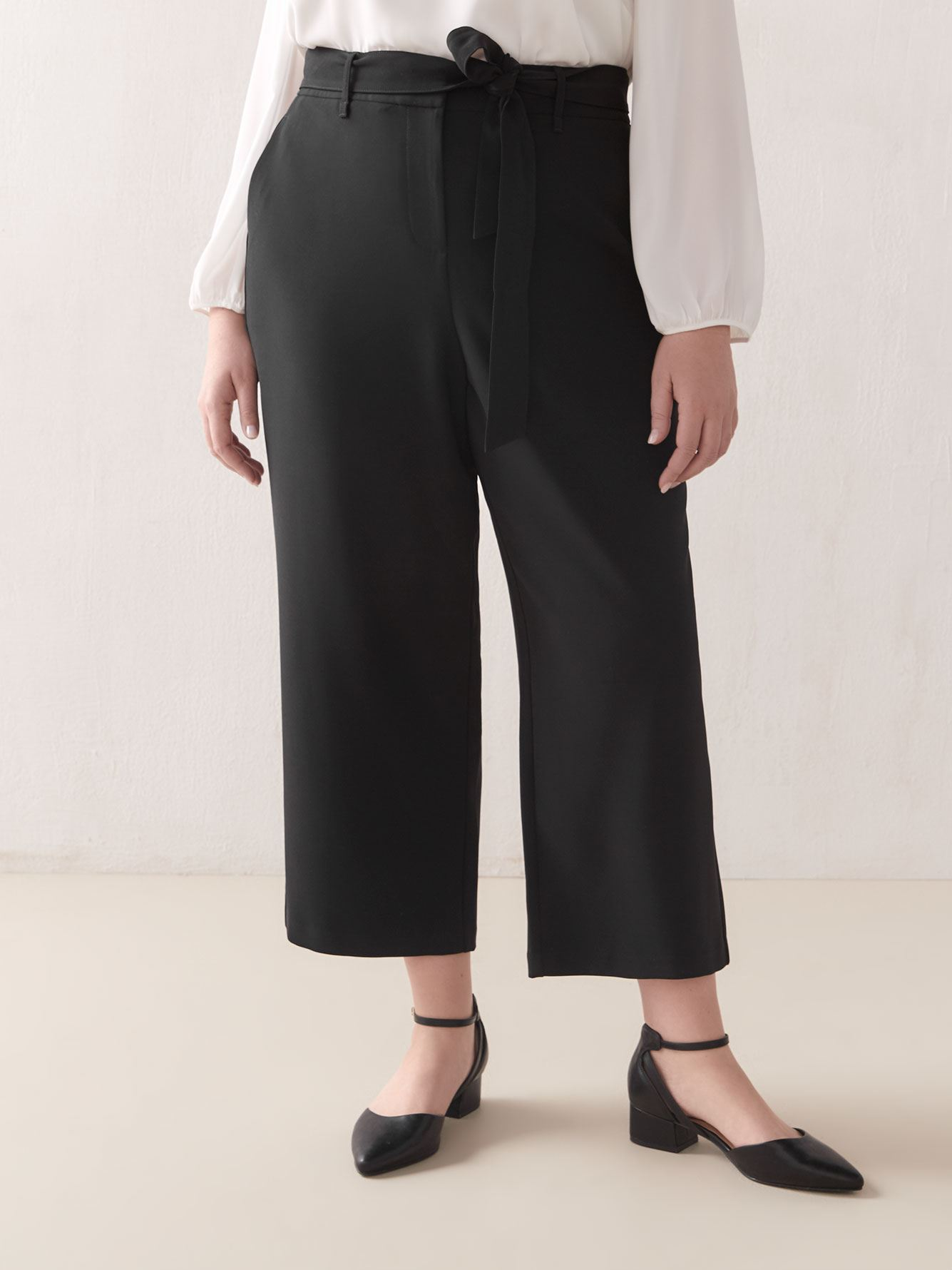 Cropped Wide-Leg Pant with Belt - Addition Elle