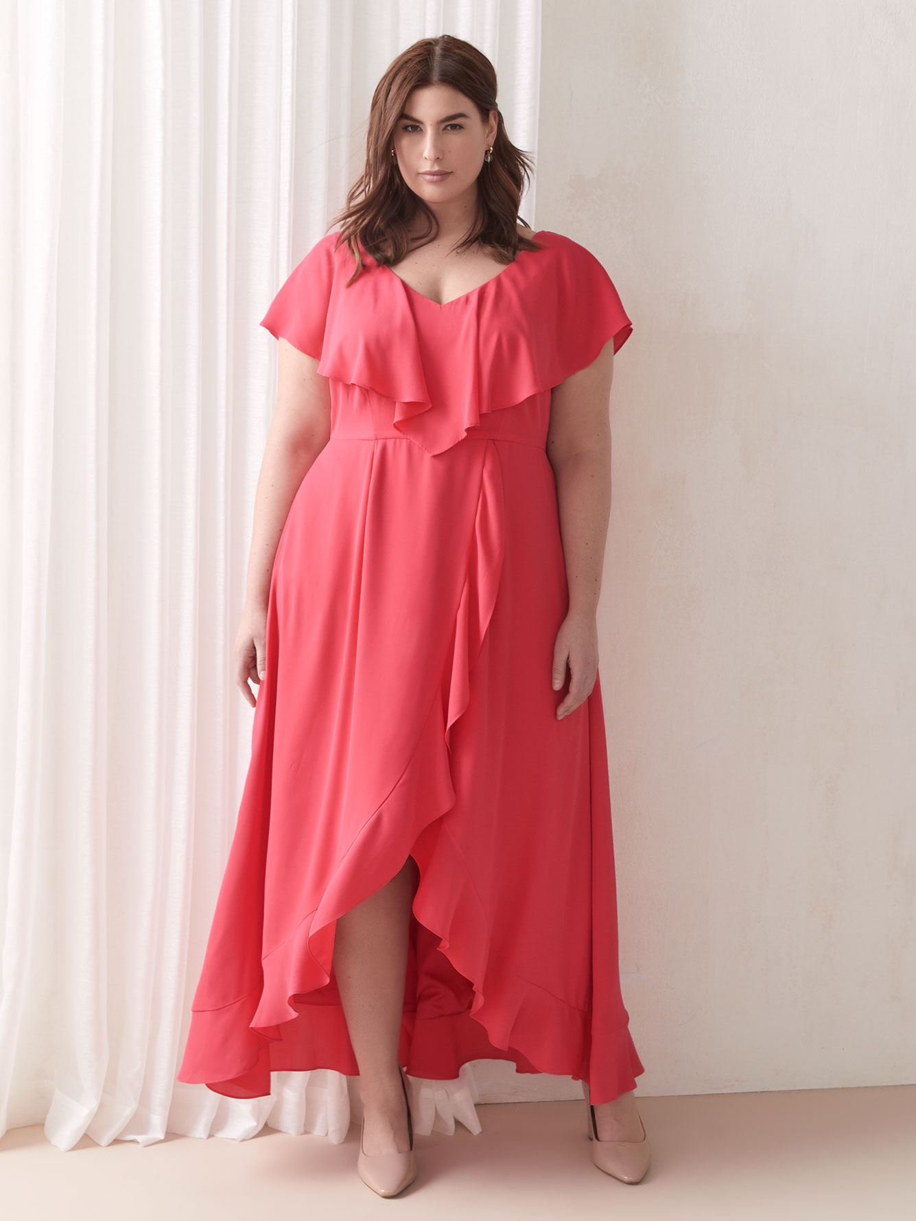 Faux-Wrap Maxi Ruffle Dress - Addition Elle