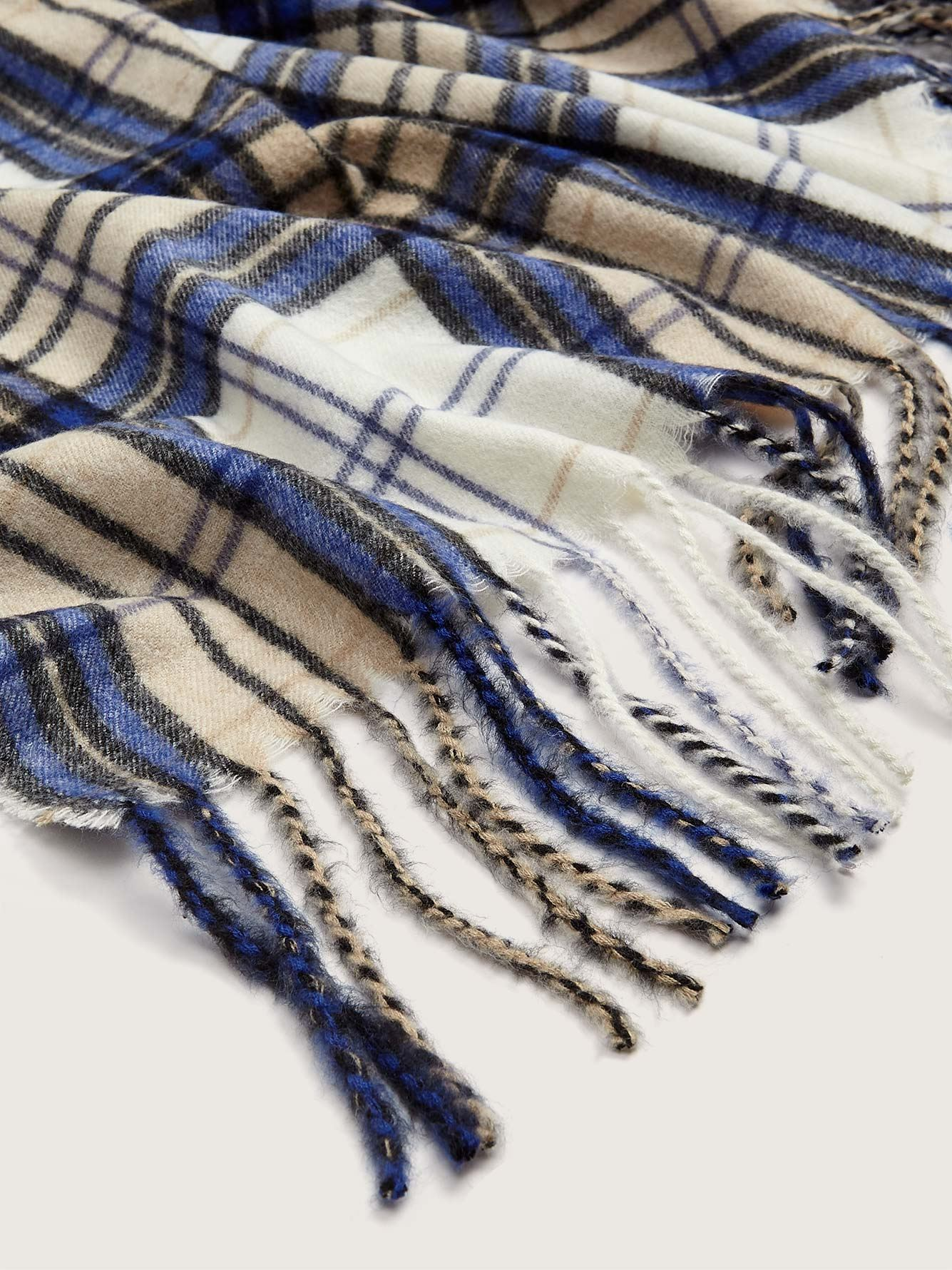 Oblong Plaid Scarf with Fringe - Addition Elle