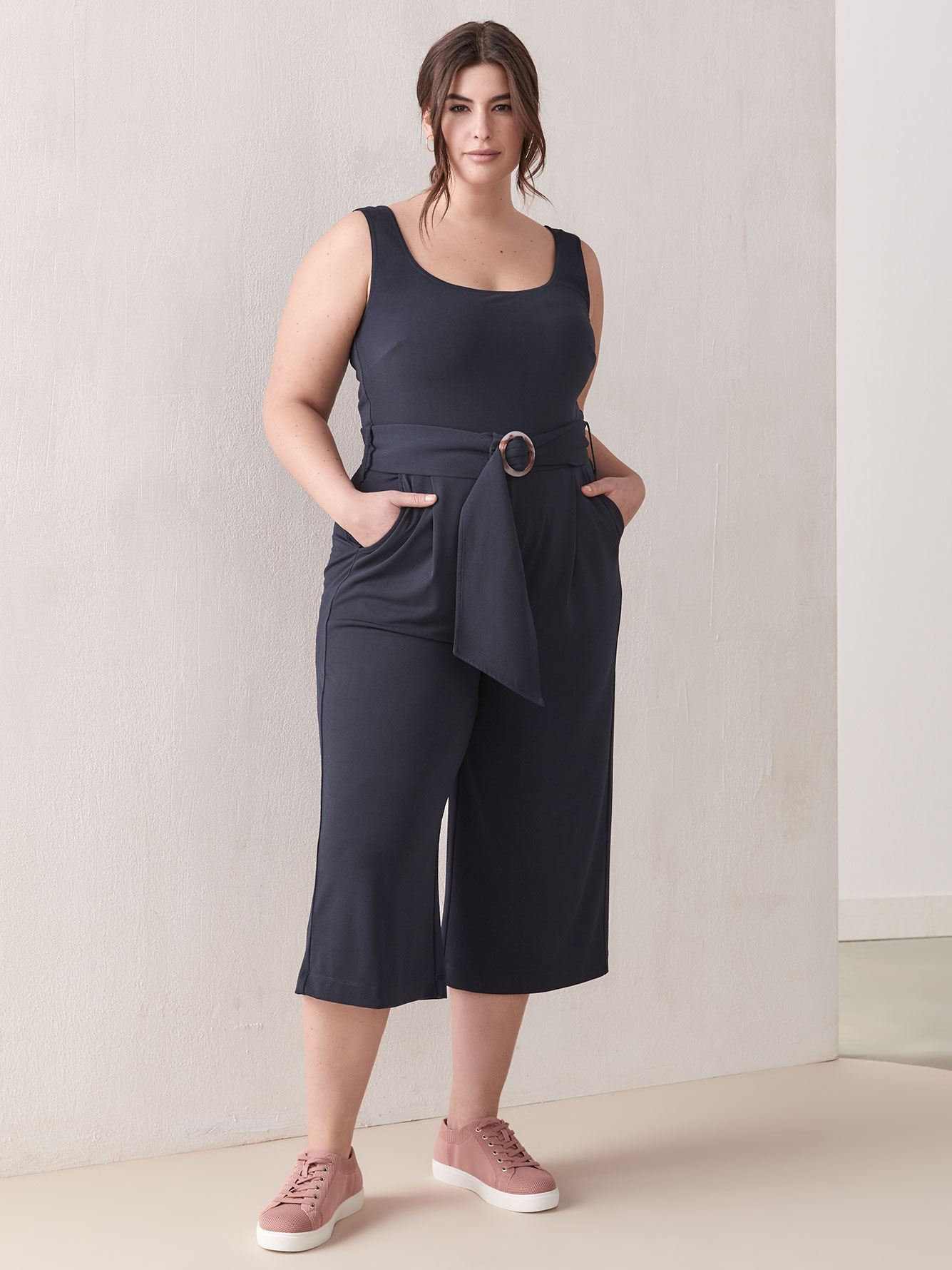 Cropped Belted Jumpsuit - Addition Elle