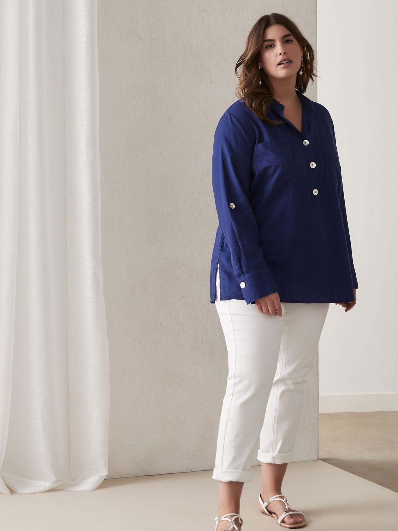 Pop-Over Linen Tunic Shirt