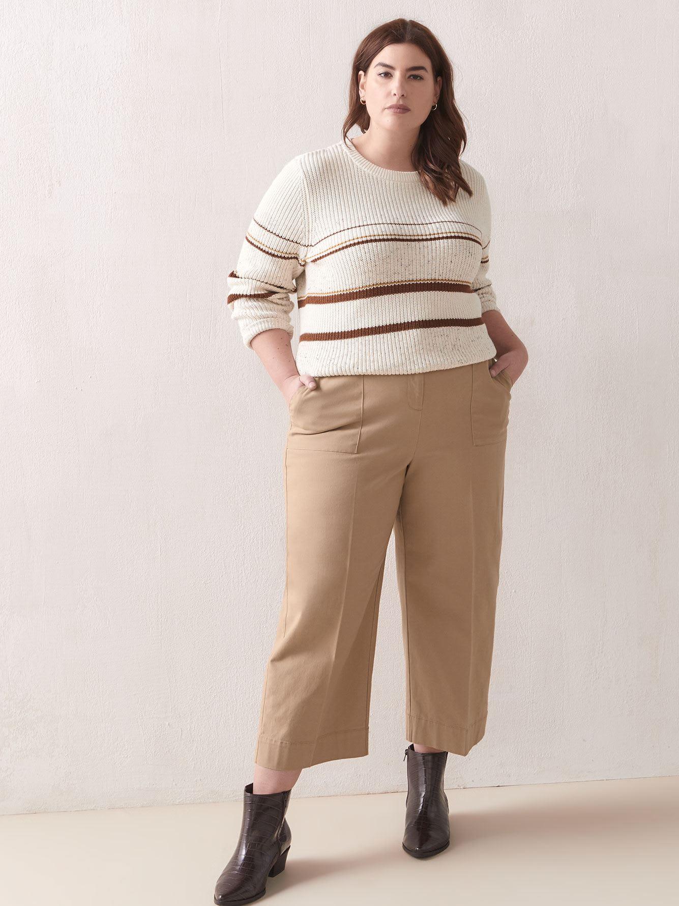 Striped Nep Yarn Sweater - Addition Elle
