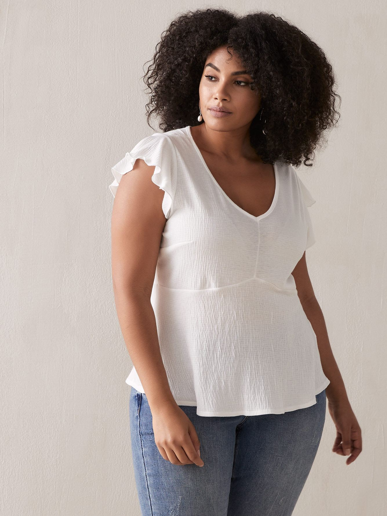 Babydoll Top with Flutter Sleeves