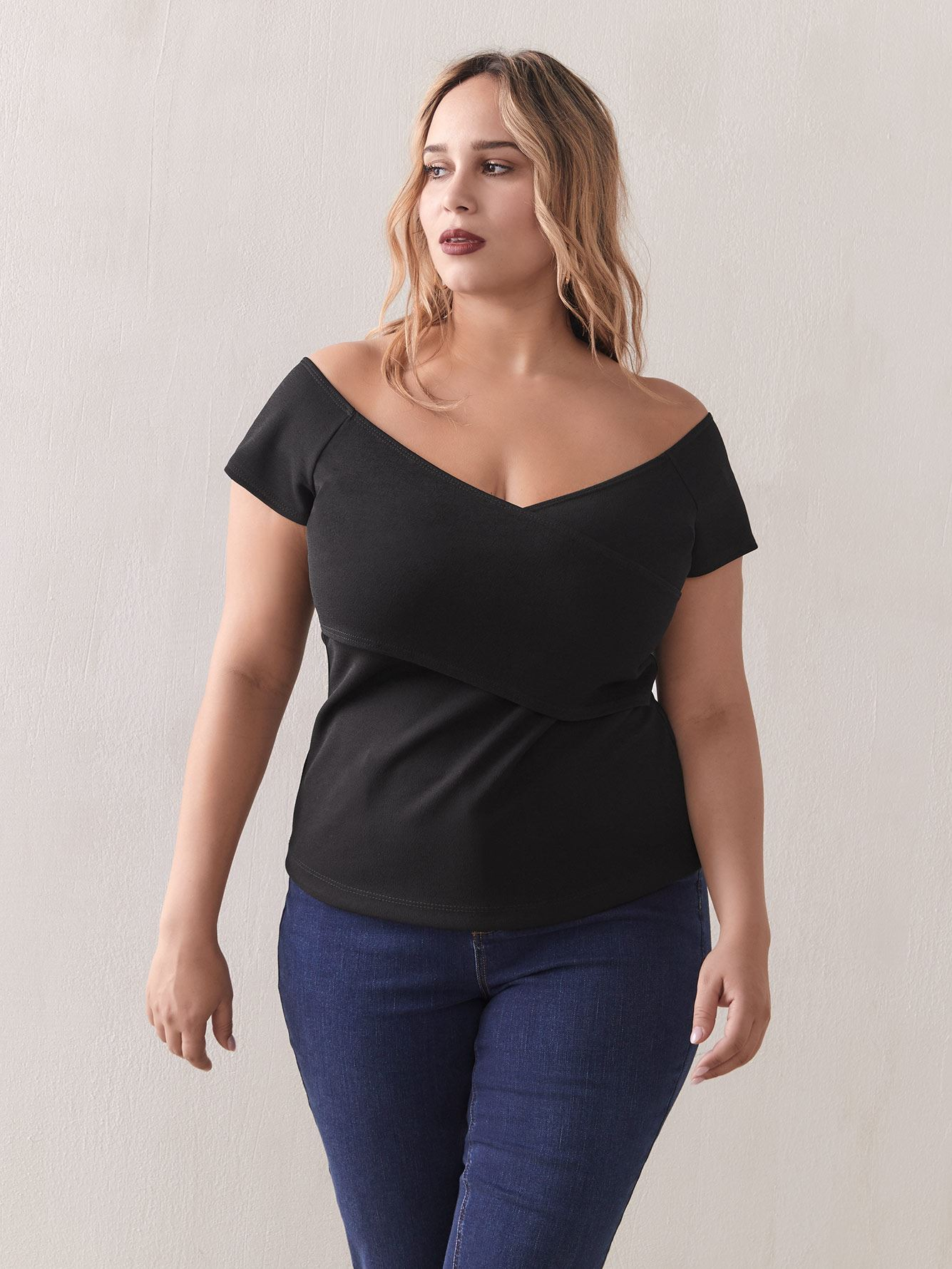 Off-The-Shoulder Crisscross Top - Addition Elle